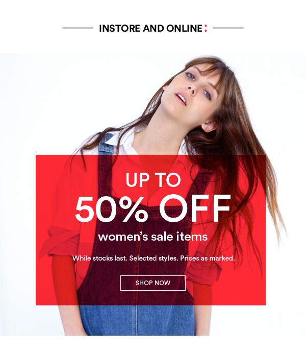 Save up to 50% off sale items + free standard shipping on orders of over $55 at Cotton On.